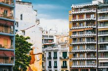 Colourful houses in Thessaloniki