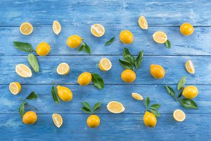 Citruses on a wooden table