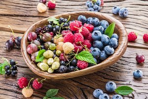 berries on the old wooden plank