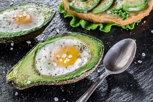 Chicken egg baked in avocado