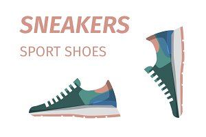 Trendy Sneakers. Sport Shoes Isolated Illustration