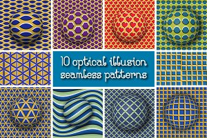 Optical illusion seamless patterns