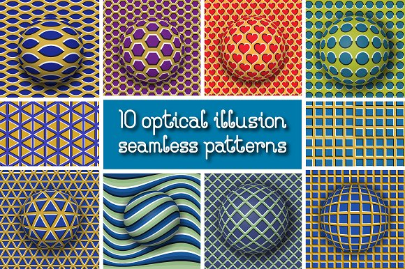 Optical illusion seamless patterns