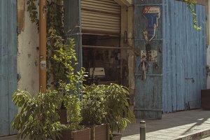 Vintage Old Street&Wooden Cafe Door
