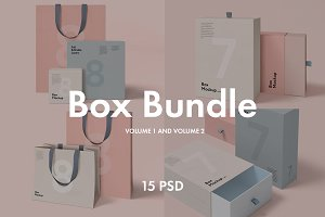 Box and Bag Mockup Bundle 15psd