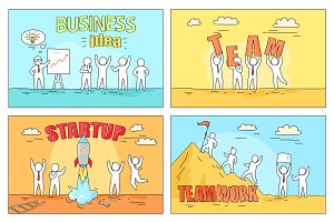 Business Idea and Teamwork on Startup Illustration