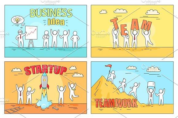 Business Idea And Teamwork On Startup Illustration
