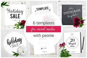 6 instagram templates with peony