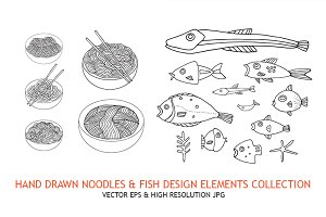 Noodles & Fish hand drawn elements