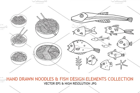 Noodles Fish Hand Drawn Elements