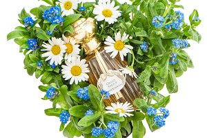 Forget me not daisy flowers heart