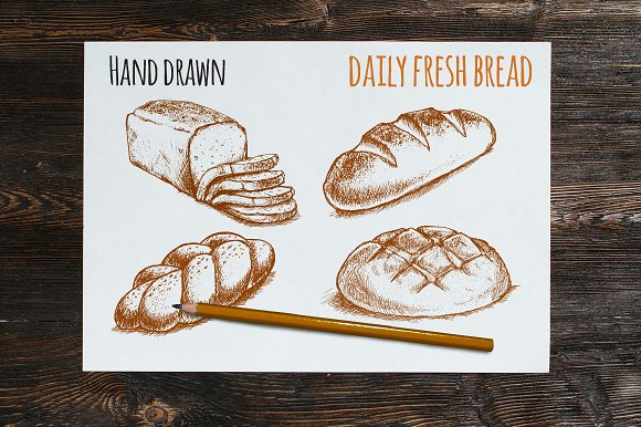 Daily Fresh Bread Vector Sketches