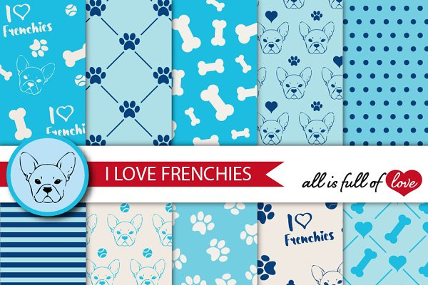 Frenchie digital paper in Blue