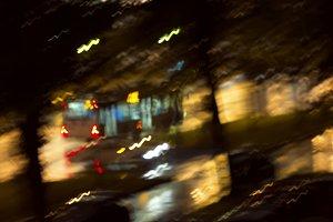 Nnight trolley on rain blurred