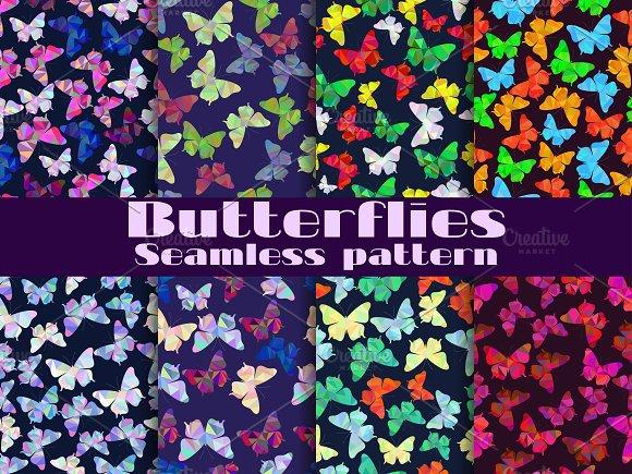 Butterflies seamless pattern set