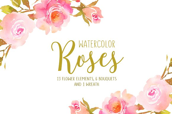 Watercolor Roses With Golden Leaves