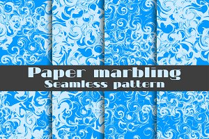 Marbled paper seamless pattern set