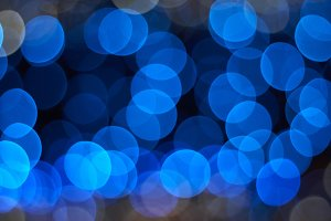 Blue lights defocused