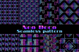 Neo deco seamless pattern set