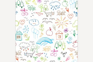 Kids Drawings Seamless Pattern