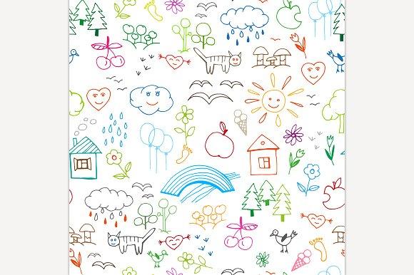 Kids Drawings Seamless Pattern