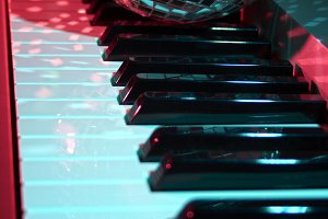 Discoball on musical keyboard