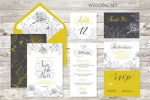 Wedding set. Calligrafy, graphics.