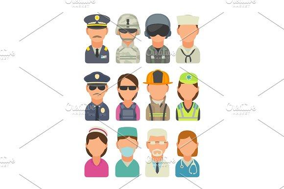 Icon People Soldier Officer Pilot Marine Sailor Police Bodyguard Fireman Paramedic