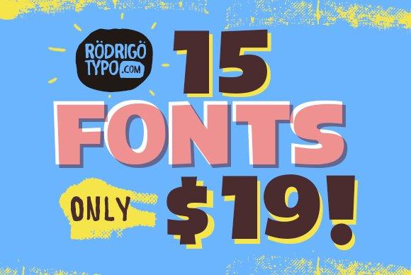 Bundle 15 FONTS Rodrigotypo $ 19
