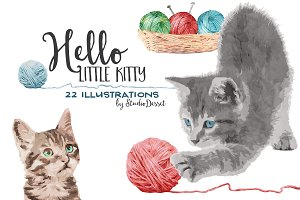 Kitty - Watercolor Graphics of Cats