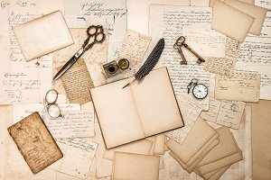 antique accessories and old letters