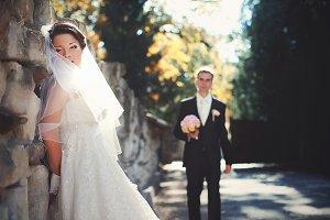 Veil hides bride's face