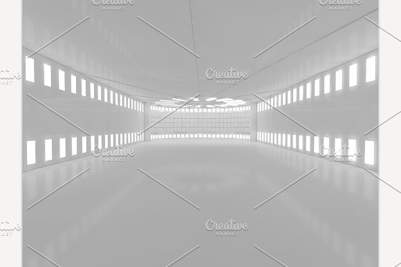 Empty Room Interior With Lamps