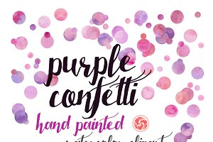 Watercolor confetti - purple dots
