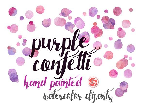Watercolor Confetti Purple Dots
