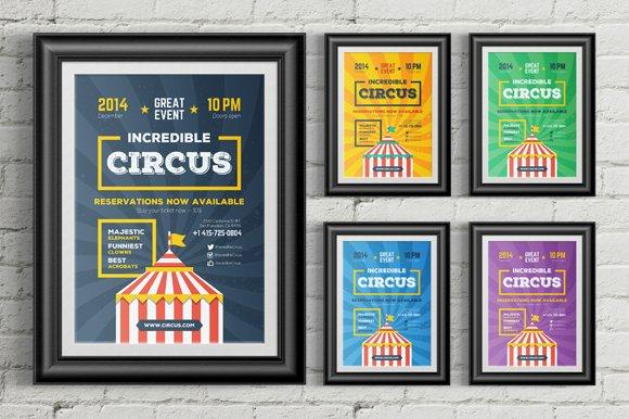 Circus Poster Template Flyer Templates Creative Market