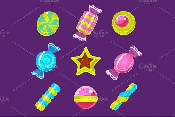 Hard Candy Colorful Simplified Icons Set