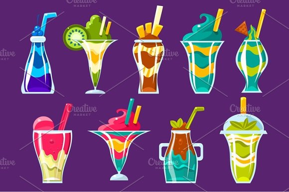 Smoothies And Sweet Multilayered Cocktails Collection