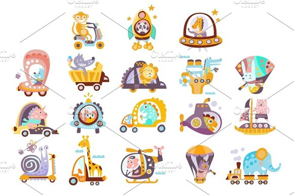 Animals And Transportation Fantasy Drawings Set