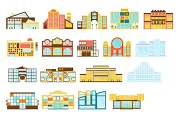 Shopping Mall Buildings Exterior Design Set