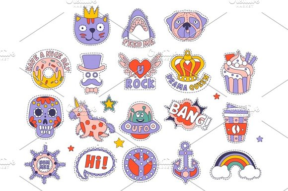 Skull Doughnut Cat And Others Bright Childish Stickers