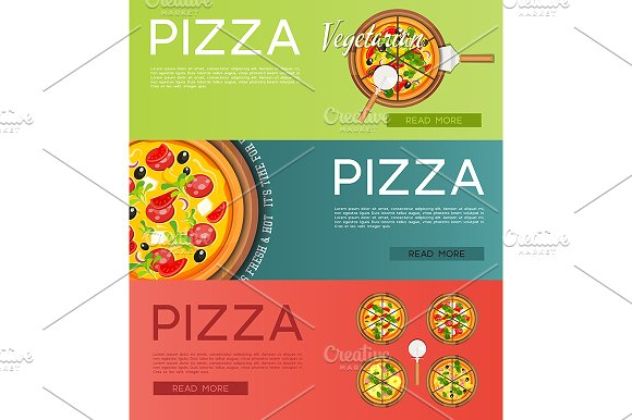 Italian Pizza Banners Set
