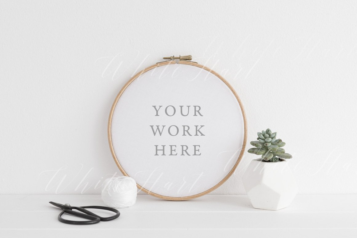 Embroidery hoop mock up psd png product mockups