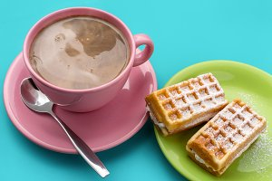 Cappuccino and waffles.