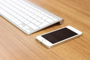 iPhone and Apple keyboard
