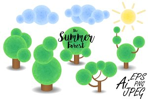 Summer Forest Vector Clipart