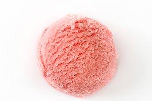 Strawberry ice cream scoop