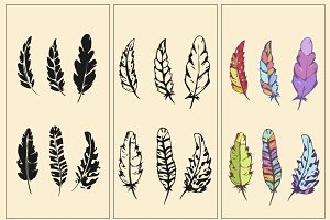 Feathers set vector illustration
