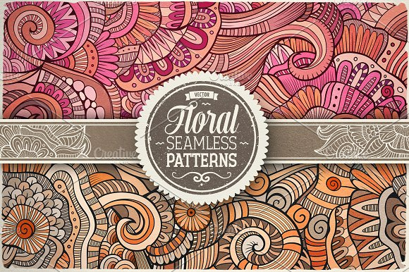 14 Floral Ethnic Seamless Patterns