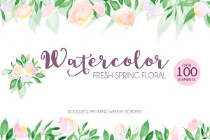 Watercolor fresh spring floral
